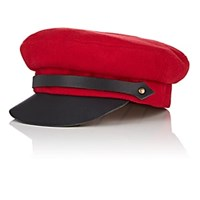 Lola Hats Classic Chauffeur Wool And Leather Cap Red