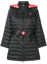 Emporio Armani Padded Single Breasted Coat Black