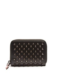 Christian Louboutin Panettone Spike Embellished Leather Coin Purse Black Silver