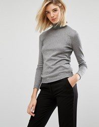 Mango Ribbed Side Knitted Roll Neck Grey