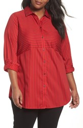Foxcroft Plus Size Women's Gina Holiday Stripe Shirt