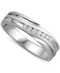Macy's Men's Diamond Twist Band 1 6 Ct. T.W. In 10K White Gold