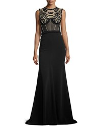 Jenny Packham Embroidered Sleeveless Corset Gown Black
