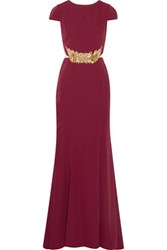 Mikael Aghal Embellished Tulle Paneled Stretch Cady Gown Burgundy