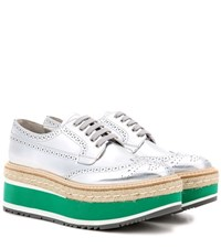 Prada Wingtip Leather Brogues Silver