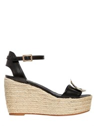 Roger Vivier 90Mm Leather And Rope Espadrilles Wedges