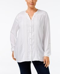 Jm Collection Plus Size Embellished Peasant Blouse Only At Macy's Bright White