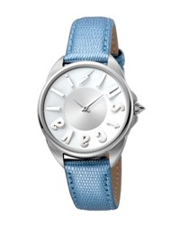 Just Cavalli 34Mm Logo Stainless Steel Watch W Leather Strap Blue