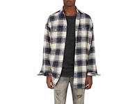R 13 R13 Men's Windowpane Checked Flannel Shirt Ivory Blue