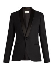Saint Laurent Le Smoking Single Breasted Wool Jacket Black