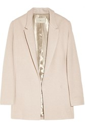 Halston Oversized Boucle Wool Blend Coat Pink