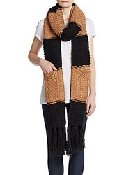 Saks Fifth Avenue Knit Striped Scarf Sandstone