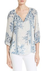 Joie Women's Deena Print Silk Peasant Top