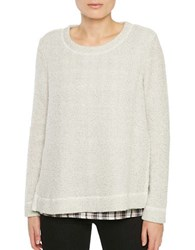 Sanctuary Twofer Wool Blend Plaid Sweater Cream