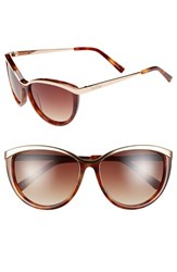Women's Lilly Pulitzer 'Mittie' 56Mm Cat Eye Sunglasses Caramel Tortoise Gold