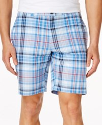 Club Room Big And Tall Plaid Shorts Only At Macy's Pale Ink Blue