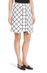 Halogenr Petite Women's Halogen Pleat Detail A Line Skirt Ivory Black Plaid