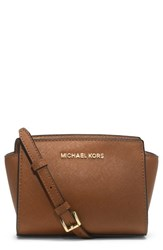 Michael Michael Kors 'Selma Mini' Saffiano Leather Messenger Bag Brown Luggage
