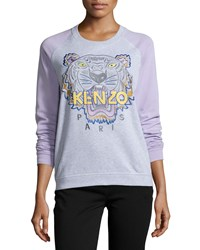 Kenzo Cotton Raglan Tiger Sweatshirt Light Gray Size Medium Light Grey
