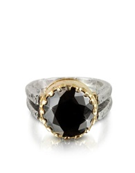 Try Black Cubic Zirconia Sterling Silver And Rose Gold Ring