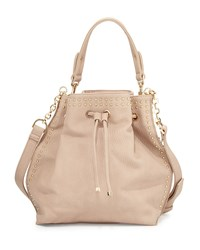 Neiman Marcus Studded Trim Bucket Hobo Bag Blush Pink