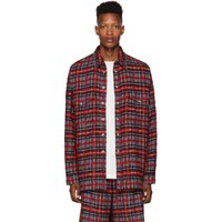 Faith Connexion Red And Black Laced Tweed Overshirt