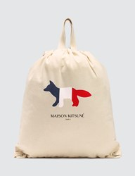 Maison Kitsune Tricolor Fox Tote Backpack White