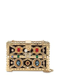 Dolce And Gabbana Box Jeweled Clutch Gold