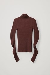Cos Ribbed Mock Neck Sweater Red