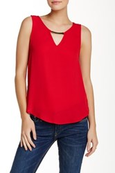 Lily White Sleeveless Bar Front Blouse Red