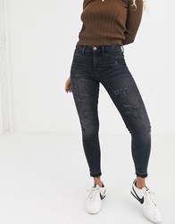 River Island Molly Distressed Skinny Jeans In Washed Black