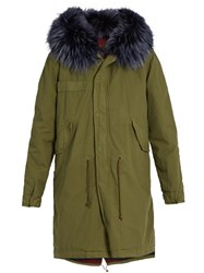 Mr And Mrs Italy Fur Trimmed Canvas Parka Khaki Multi