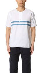 Ymc Stripe Short Sleeve Surf Shirt White Blue