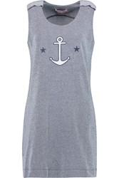 See By Chloe Embellished Cotton Jersey Mini Dress Blue