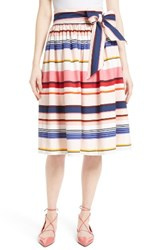 Kate Spade Women's New York Berber Stripe Sash Tie Midi Skirt