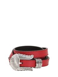 Kate Cate 19Mm Thin Kim Nappa Leather Belt Red