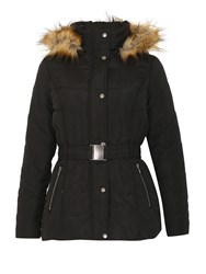 Izabel London Padded Coat With Faux Fur Hood Black