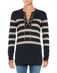 Michael Michael Kors Plus Striped Lace Up Sweater Green