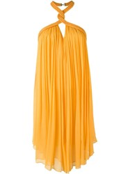 Jay Ahr Rope Detail Halterneck Dress Yellow And Orange