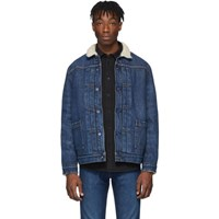Levi's Levis Made And Crafted Blue Denim Type Ii Sherpa Trucker Jacket