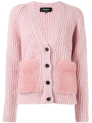Rochas Ribbed Knit Cardigan Pink