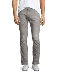 Maison Martin Margiela Raw Hem Stovepipe Jeans With Stitching Light Gray