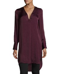 Catherine Malandrino Long Sleeve High Slit Tunic Wine