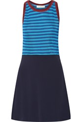 Sandro Ruggia Stretch Knit And Crepe Mini Dress Blue