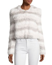 Joie Toshi Layered Cropped Fur Jacket Foggy Mt Multi