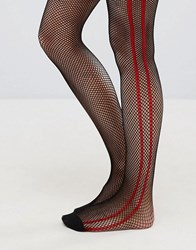 Asos Fishnet Tights In Black With Red Side Stripe Red