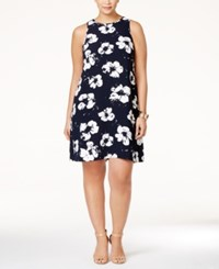 Alfani Plus Size Pleat Back Printed Dress Only At Macy's Floral Navy