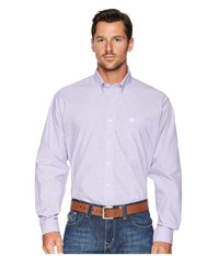 Cinch Long Sleeve Plain Weave Plaid Lilac Long Sleeve Button Up Purple