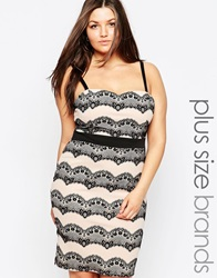 Lipstick Boutique Plus Lace Patterned Pencil Dress Blacknude