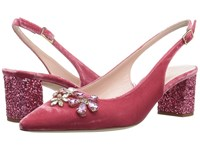 Kate Spade Montana Antique Rose Velvet Pink Glitter Heel Women's Slip On Dress Shoes Red